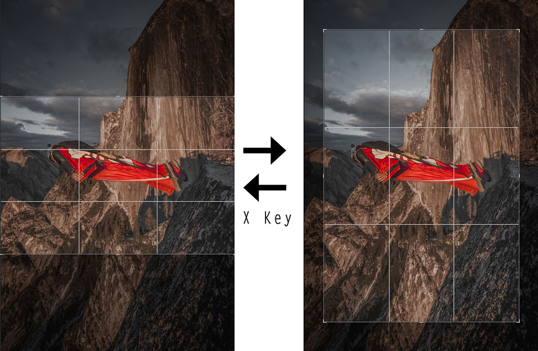 How to rotate crop aspect ration in Lightroom