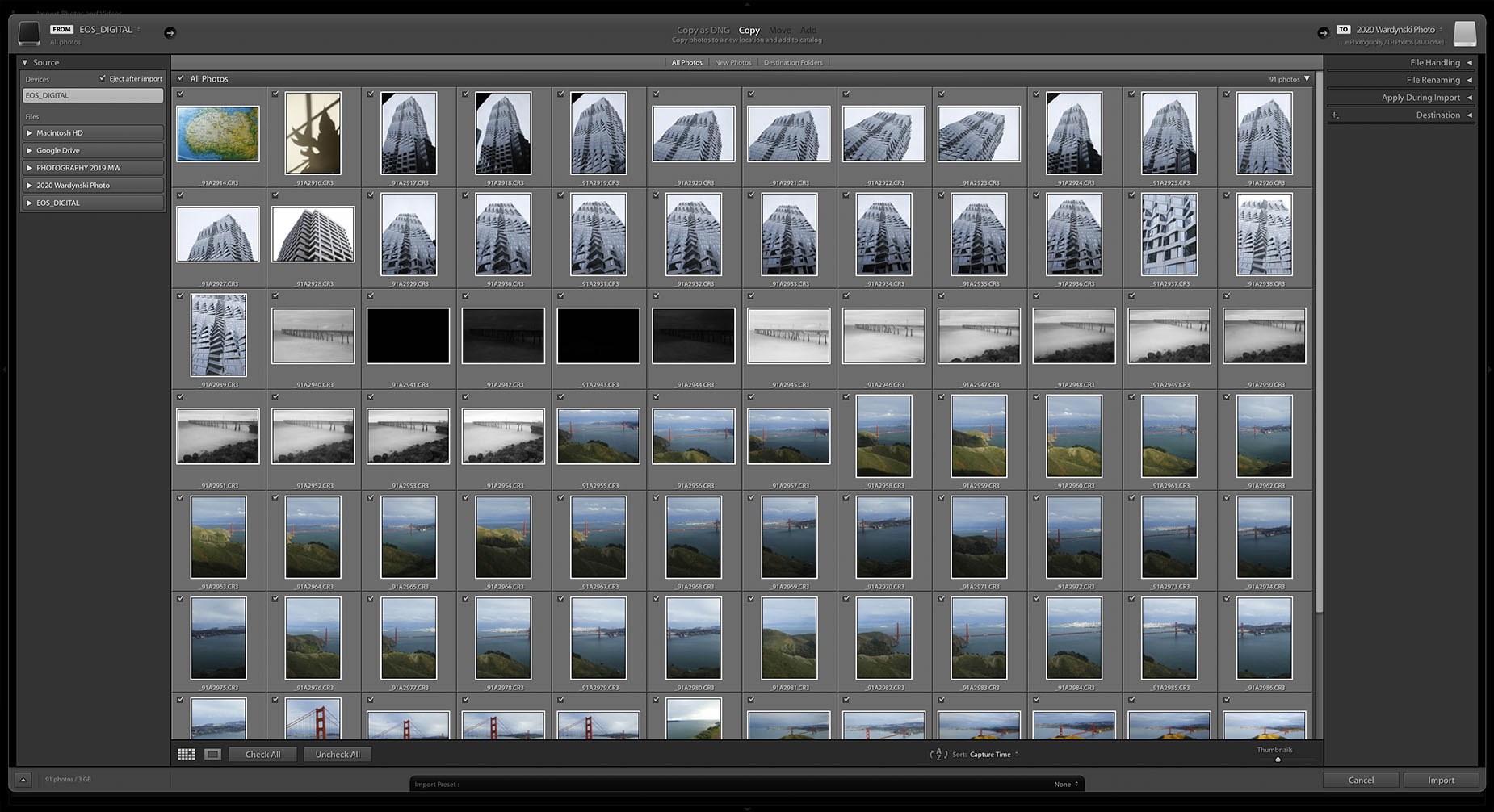lightroom classic import screen check boxes