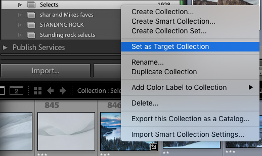 How to set a target collection in Lightroom