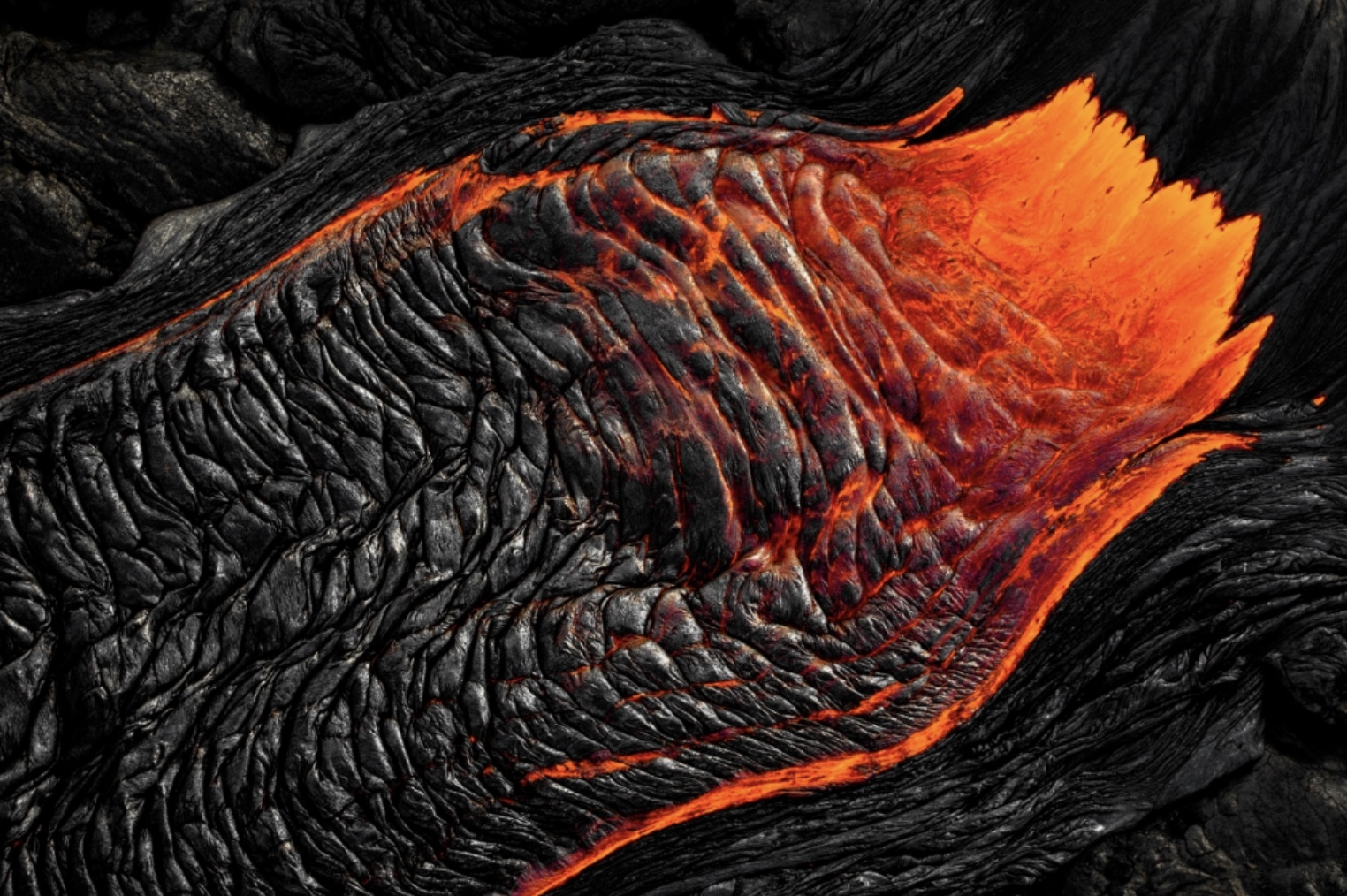 Photographing Lava from a helicopter