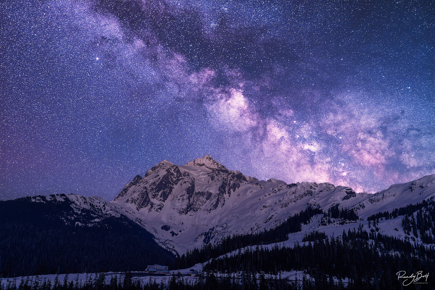 Mount Shuksan with the Milky Way galaxy in the north Cascades